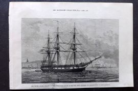 ILN 1880 US Frigate Constellation with Relief, off Haulbowline, Ireland. Ship